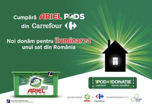 (P) POD cu POD luminezi o casă – o campanie Ariel și Carrefour, în parteneriat cu ViitorPlus