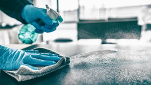casa curata. dezinfectarea suprafetelor, curatenie, manusi albastre, pulverizator
